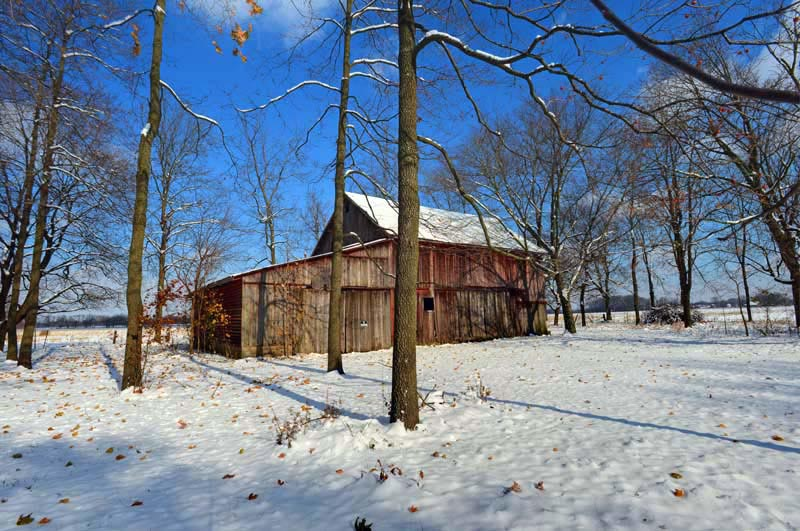 barn;snow;indiana