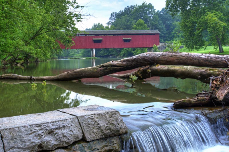 Bridge-Covered Bridge-red;waterfall;midwest;Indiana;Owen County;creek;stream