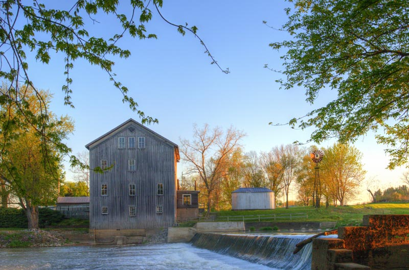 Mill;Grist Mill;Wabash County;Midwest;Indiana;rWaterfall;mist;gray;green;blue;river