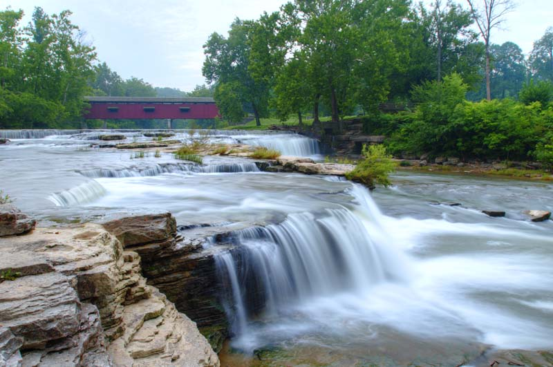 Waterfall;Creek;Stream;River;Moving water;Indiana;Midwest;Green;Water;bridge;covered bridge;waterfalls;Owen County
