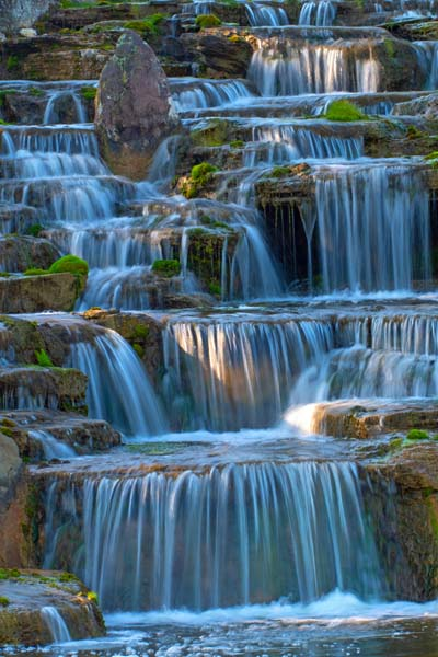 Waterfall;Beauty;Fishers;Indiana;Midwest;stream;spring;moss;green;flowing;Peaceful;Hamilton County;rural;vertical