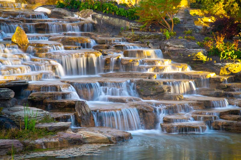 Waterfall;Beauty;Fishers;Indiana;Midwest;stream;spring;moss;green;flowing;Peaceful;Hamilton County;rural