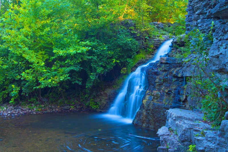Waterfall;Creek;Brook;River;Moving water;Indiana;Midwest;Cass County;Green