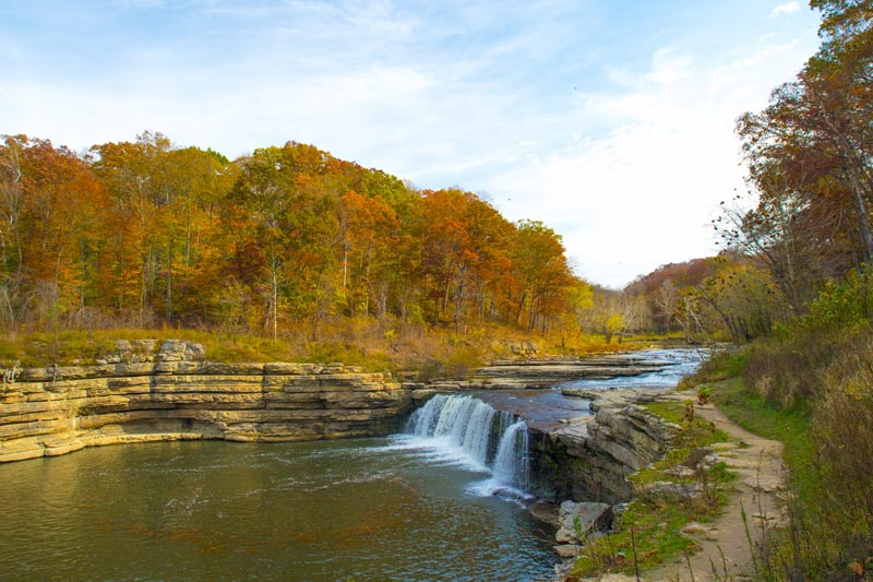 Waterfall;Creek;Stream;River;Moving water;Indiana;Midwest;Green;Water;Orange;Yellow;Blue;Fall Colors
