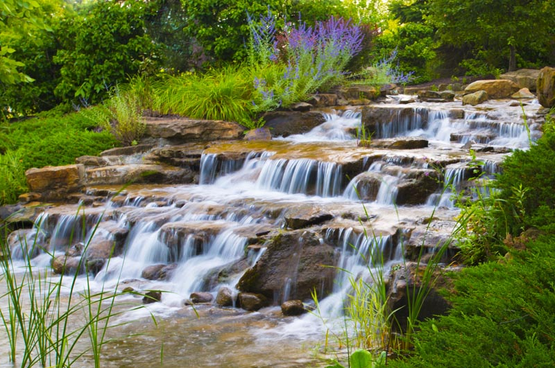 Waterfall;moving water;brook;waterfalls;Indiana;Hamilton County;stream;green;Midwest;creek