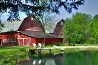 Farm;Barn;pond;lake;swimming-hole;green;red;Ohio;midwest