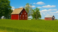 Barn;Barns;Farm;Farming;Indaina;Red;green;blue;rural;Midwest;Tipton-County