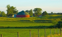 Barn;Barns;Farm;Round-Barn;Farming;Indaina;Red;green;blue;rural;Midwest;Miami-County;Sunrise