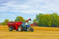 Farm;farm-equipment;tractor;barn;Indiana;Midwest;rural;red;blue;golden;Harvest;Howard-County