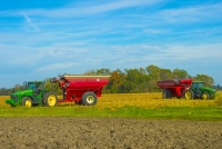 Harvest;farm;farming;farm-equipment;rural;John-Deere;Howard-County;green;red;Indiana;Midwest