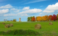 Farm;farming;hay;rolls;round;Kentucky;red;orange;green;yellow;fall-colors