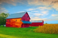 Barn;farm;red;green;Indiana;Midwest;rural;Hamilton-MiamCounty