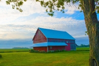 Barn;Barns;Sunrise;Indiana;Red;Gold;Miami-County;Midwest;Rural;Farm