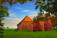Barn;barns;farm;red;green;Indiana;Midwest;Howard-County;rural;weathered-wood