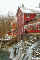 Mill;Grist-Mill;Ohio;red;Winter;Midwest;stream;river;vertical