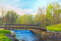 Bridge;Iron-Bridge;waterfall;Indiana;green;stream;Midwest;Howard-County