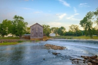 Mill;weathered;old;river;Eel-River;reflection;beauty;Morning;rural;Indiana;Midwest;spring;waterfall;