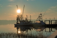 Boats;Fishing-Boats;Shrimp-Boats;Blue;Yellow;Ornage;Sunrise;Nautical;Costal;Southeast;South-Carolina