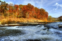 Waterfall;Creek;Stream;River;Moving-water;Indiana;Midwest;Green;Water;Orange;Yellow;blue;Fall-Colors