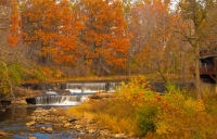 Waterfall;creek;spring;fall-colors;fall-leaf-color;orange;falling;beauty;peaceful;Indiana;Midwest;ru