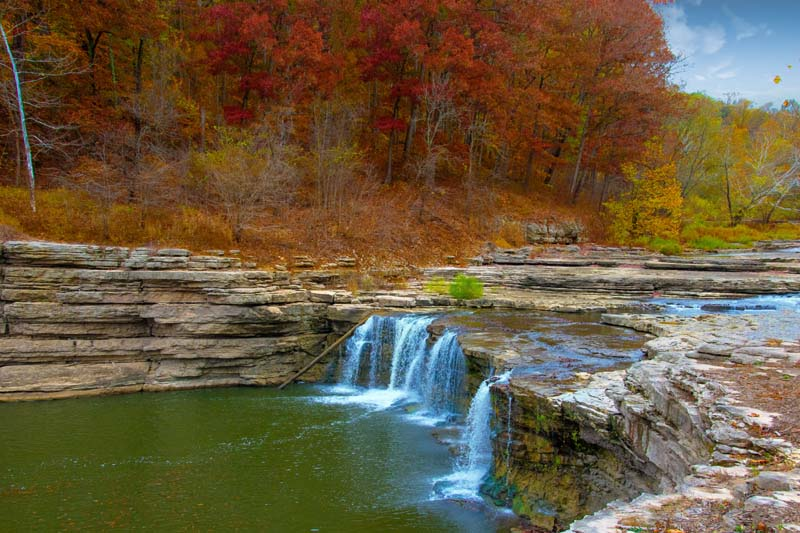 Waterfall;river;creek;Fall Colors;Fall leaf color;red;orange;Indiana;Midwest;rural;public park;beauty in nature;spring;lime stone;cliff