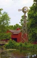 Barn;Red-Barn;Windmill;Pond;Reflection;Vertial;Indiana;Midwest;Red;Green;Farm;Farming;Rural