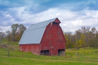 Barn;Barns;Farm;Farms;Farming;Rural;Red;Green;Mail-Pouch;Indiana;Owen-County;Midwest