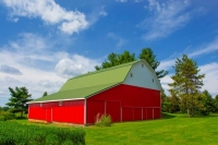 Barn;farm;red;green;Indiana;Midwest;rural;Miami-County