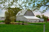 Barn;Amish;white;pond;farm;rural;Indiana;Goshen-County;Midwest