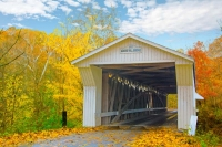 Bridge;Covered-bridge;Adams-Mill;Carrol-County;Fall-Colors;leaves;orange;yellow;white;Indiana;Midwes