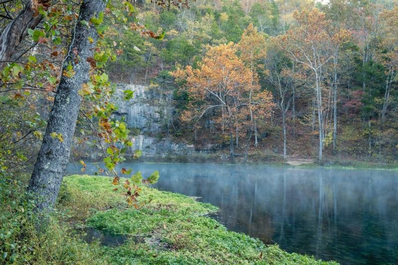 ozarks;fall;autumn;foliage;green;yellow;red;orange;horizontal;nature;landscape;Alley spring;water;trees;fog;sky;rapids;water flow