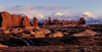 Arches-National-Park;La-Sal-mountains-from-Arches;La-Sal-and-South-Window