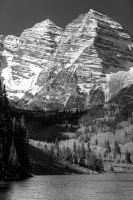 black-and-white;vertical;landscape;mountain;water;lake;maroon-bells;aspen;co;colorado;sky
