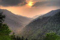 green;orange;horizontal;mountains;sky;clouds;sun;fog;sunrise;sunset;landscape;trees;smoky-mountain-n