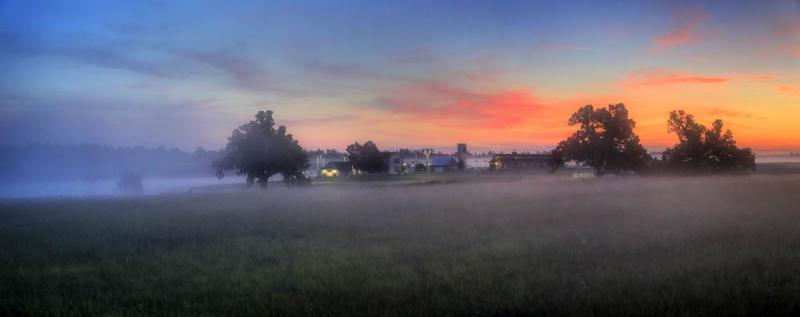 wilson farms;springfield;mo;missouri;sunrise;fog;foggy;mauve;pink;haze;trees;morning;am;landscape;panorama;cityscape;farm;barn;grass;farmhouse;blue;orange;sky;skies;green