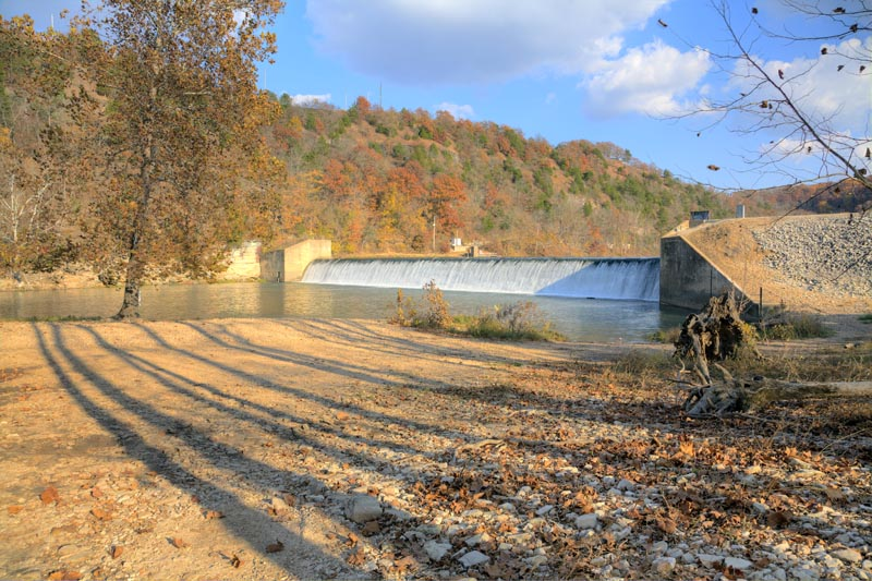 tunnel dam;river;water;fall;autumn;trees;mo;missouri