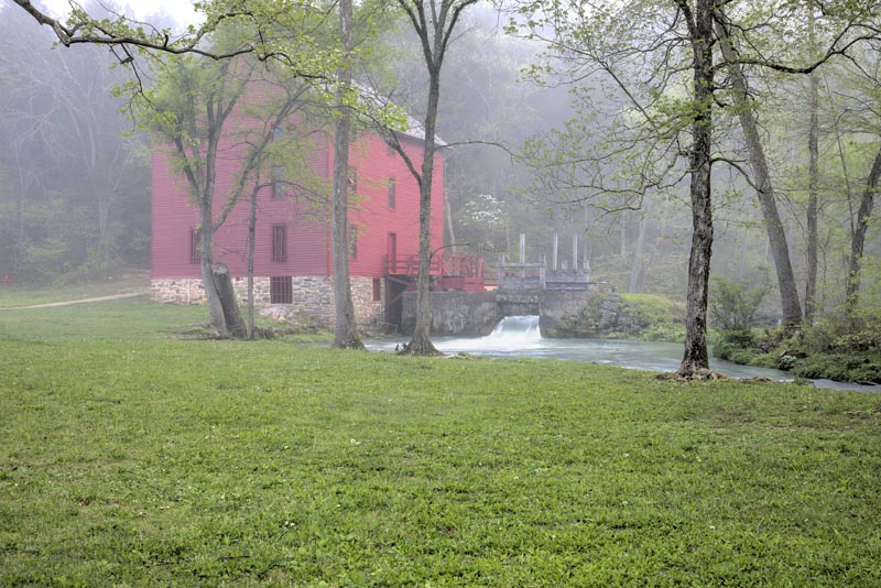 red;green;horizontal;fall;trees;building;water;mill;alley mill;alley spring;eminence;mo;missouri