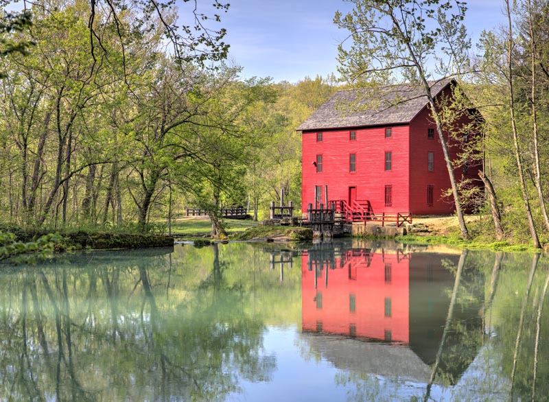 red;green;yellow;horizontal;fall;trees;building;water;mill;alley mill;alley spring;eminence;mo;missouri