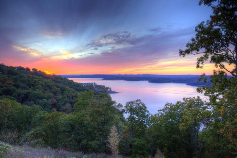 sunset;lake;table rock lake;branson;mo;missouri;kimberling city;lampe;autumn;fall;foliage;color;blue;red;orange;mauve;landscape;horizontal