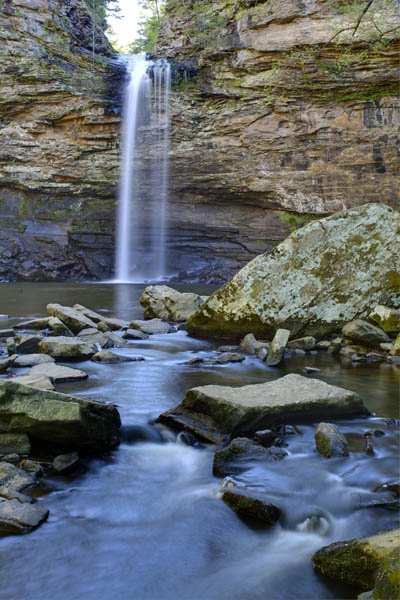 mountains;ozarks;petit jean;state park;ar;arkansas;forest;trees;vertical;green;waterfall;water