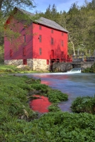 red;green;vertical;fall;trees;building;water;mill;alley-mill;alley-spring;eminence;mo;missouri