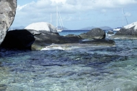 blue;horizontal;water;ocean;boat;rocks;landscape;travel;virgin-islands;carribean