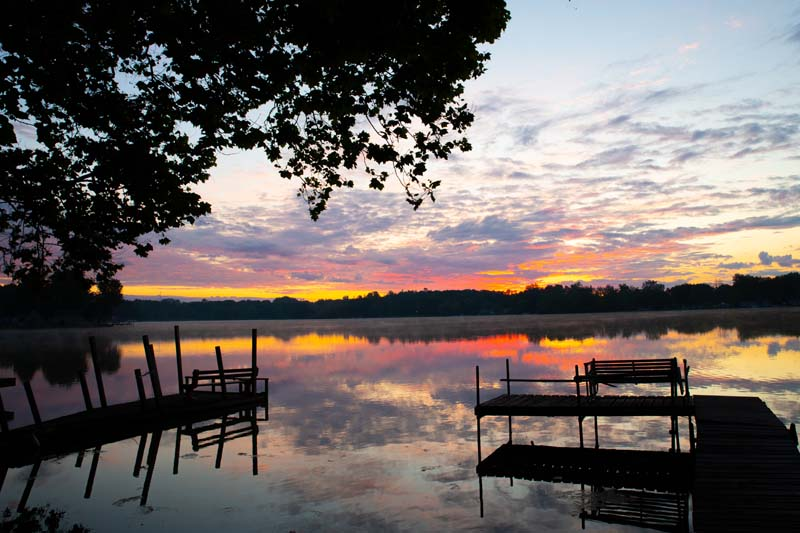 Lake;Sunrise;Nayona Lake;Nature;Fulton County;gold;orange;dock;pink;Indiana;Midwest;Peaceful;reflection;Dock
