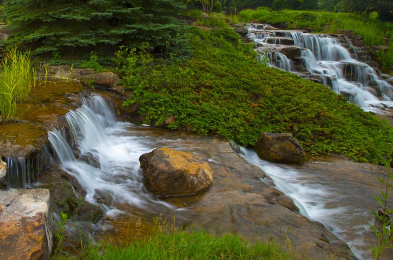 Waterfall;moving water;creek;Indiana;Midwest;stream;waterfalls;Hamilton County;green;river