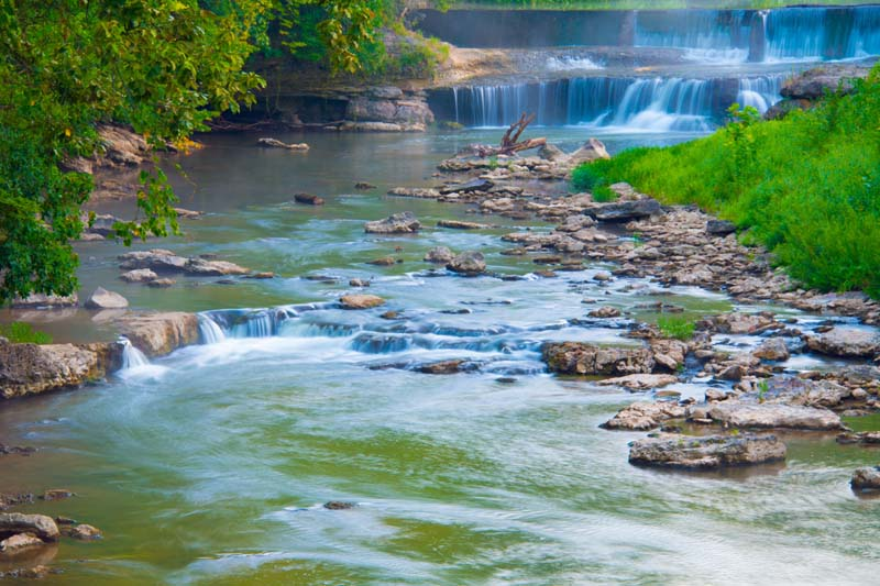 Waterfall;Cass County;Indiana;Midwest moving water;Pipe Creek;stream;nature