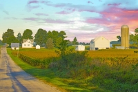 Barn;Barns;Sunrise;Indiana;White;Gold;Howard-County;Midwest;Rural;Farm;Snow;MIdwest;Round-Barn;Pink