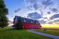 Barn;farm;sunrise;rural;red;gold;Indiana;Midwest;beauty;Peaceful