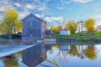 Mill;Grist-Mill;Wabash-County;Midwest;Indiana;reflection;mist;gray;green;Mills