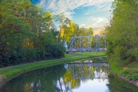 Bridge;Iron-Bridge;Erie-Canal;Delphi;Indiana;Midwest;reflection;water;Midwest;green;rural
