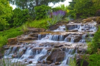 Waterfall;waterfalls;Hamilton-County;Indiana;Midwest;Moving-water;green;stream;creek;river;green